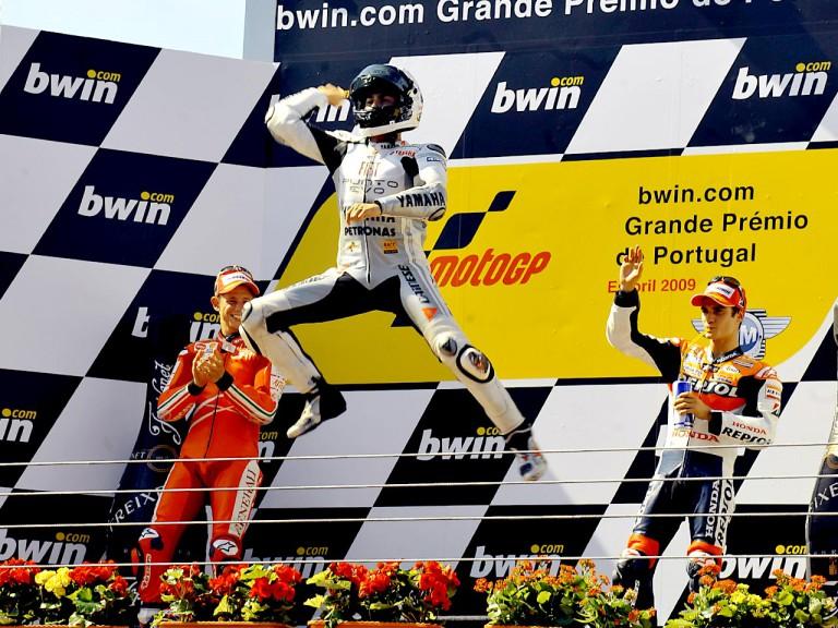 Lorenzo celebrates GP win at Estoril