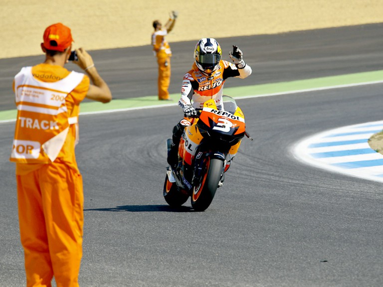 Dani Pedrosa at the finish of race at Estoril