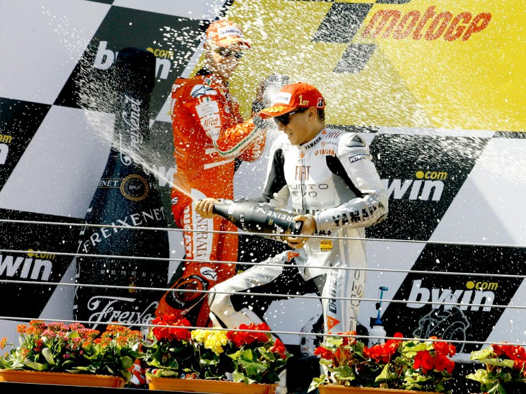 Lorenzo celebrates GP win at Estoril