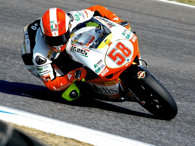 Marco Simoncelli ina ction in Estoril