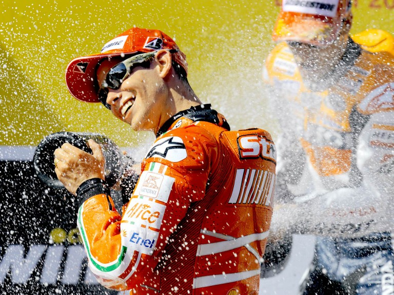Casey Stoner on the podium at Estoril