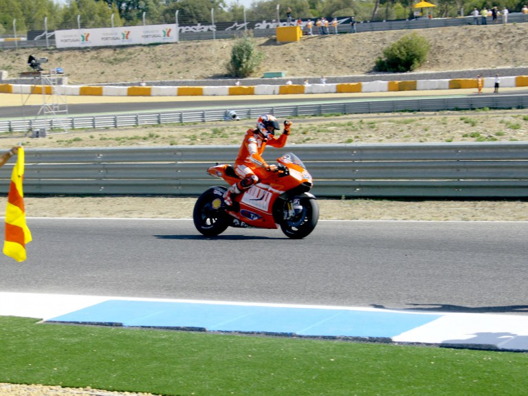 Casey Stoner at the finish of the race at Estoril