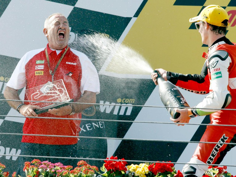 Karlos Arguiñano and Pol Espargaró celebrating podio at Estoril