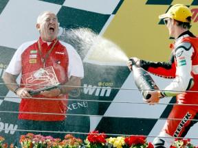 Karlos Arguiñano and Pol Espargaró celebrating podio at Estoril