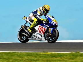 Valentino Rossi in action in Phillip Island