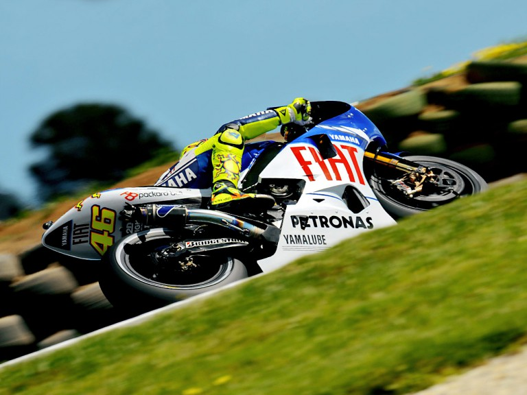 Valentino Rossi in action during FP1 at Phillip Island