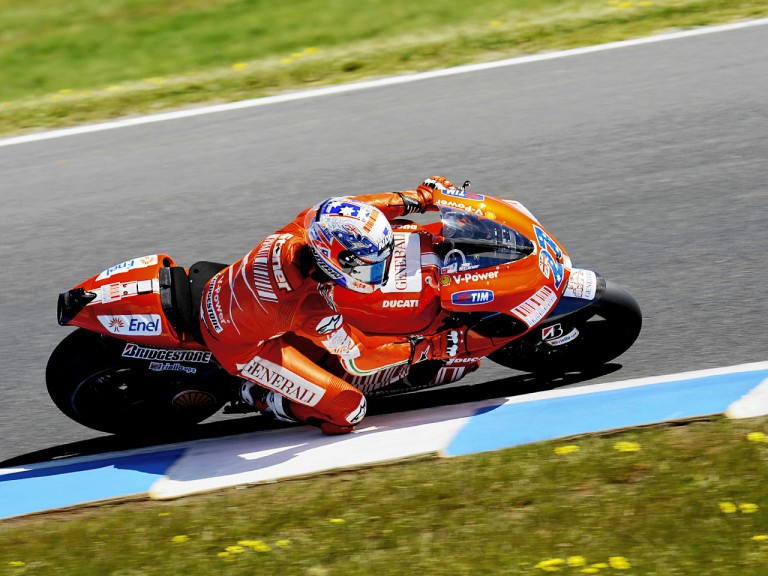 Casey Stoner in action during FP1 at Phillip Island