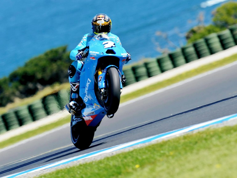 Chris Vermeulen pulls off a wheelie during FP1 at Phillip Island