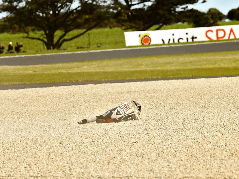 Lorenzo crashes during the race at Phillip Island