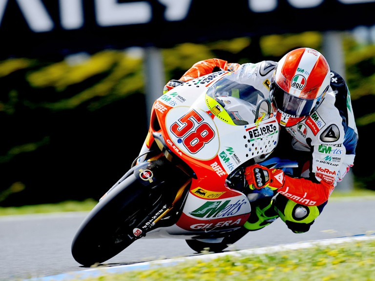 Marco Simoncelli in action in Phillip Island