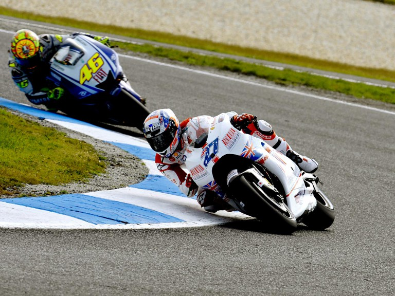 Stoner riding ahead of Rossi at the Iveco Australia Grand Prix in Phillip Island