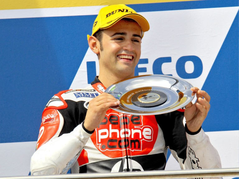 Héctor Barberá on the podium at Phillip Island