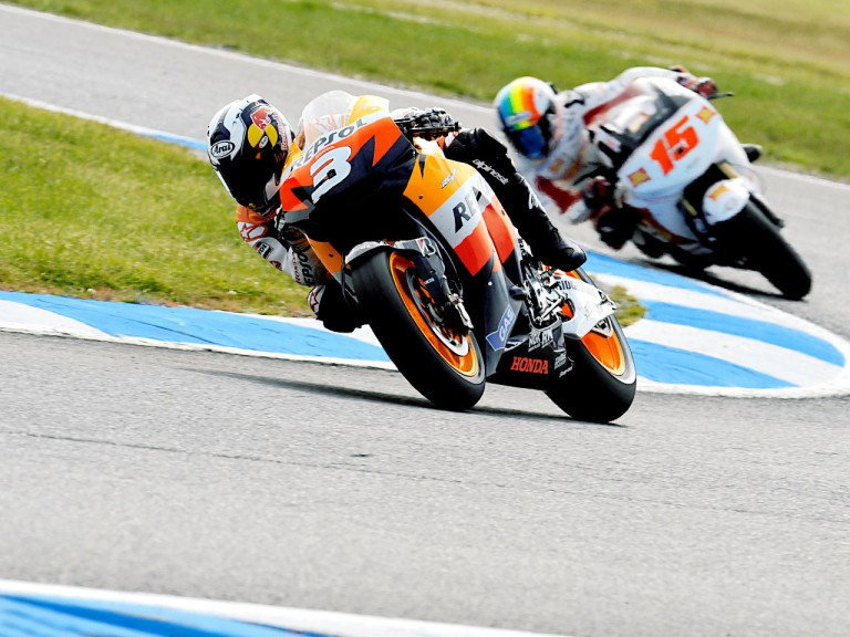Dani Pedrosa riding ahead of De Angelis at Phillip Island