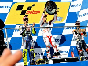Rossi, Stoner and Pedrosa on the podium at Phillip Island
