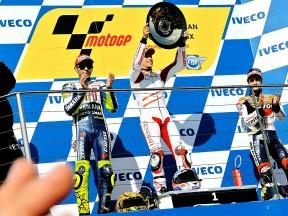 Rossi, Stoner and Pedrosa on the podium at Phillip Island