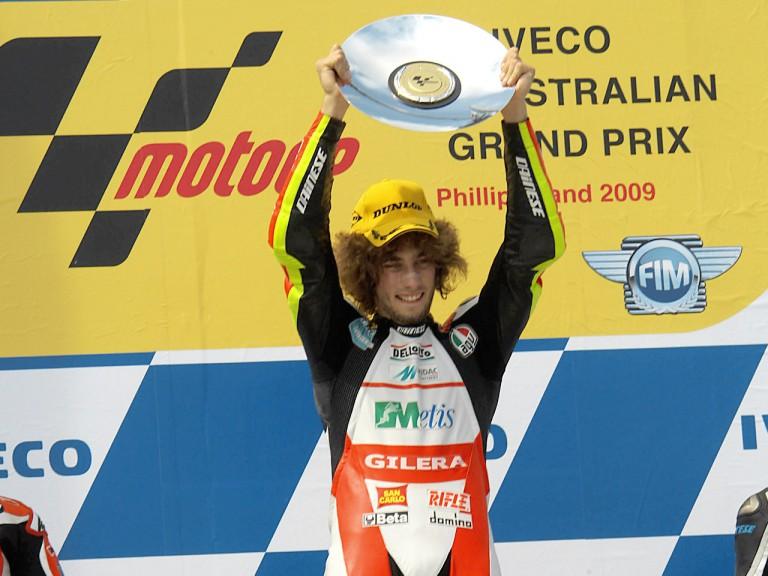 Marco Simoncelli on the podium at Phillip Island