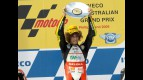 Marco Simoncelli on the podium at Phillip Island