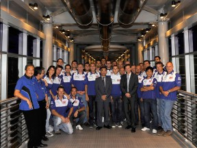Fiat Yamaha Team at the Petronas Towers ahead of Malaysian GP