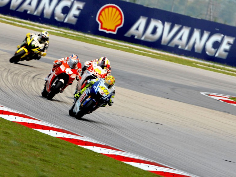 Rossi riding ahead of MotoGP group in Sepang