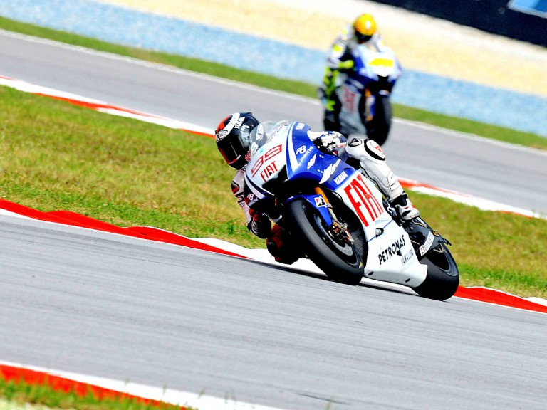 Lorenzo and Rossi in action in Sepang