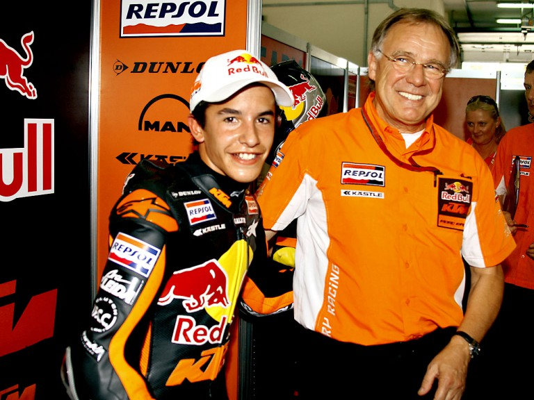Marc Marquez in the Red Bull KTM garage