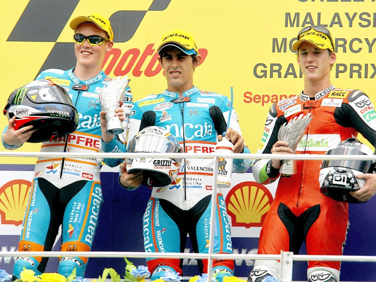Smith, Simón and Espargaró on the podium at Sepang
