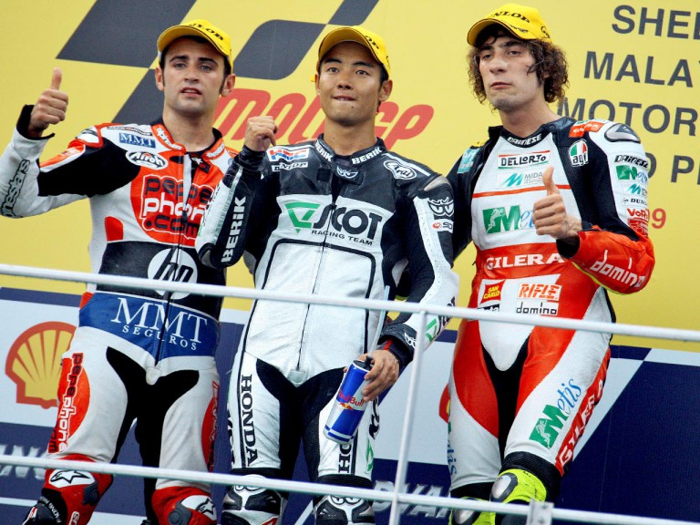 Barberá, Aoyama and Simoncelli on the podium at Sepang