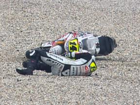 Randy De Puniet crash during race in Sepang
