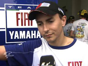 Lorenzo congratulates Rossi