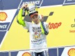 2009 MotoGP World Champion Valentino Rossi on the podium at Sepang