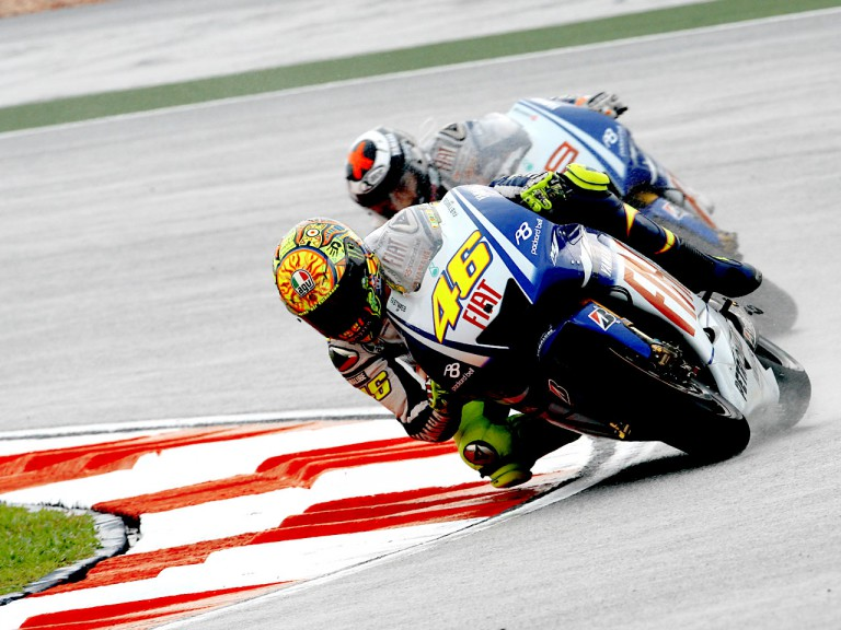 Rossi riding ahead of Lorenzo in Sepang