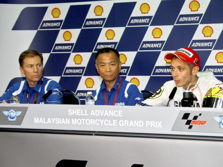 Lin Jarvis, Masao Furusawa and Valentino Rossi in the press conference after MotoGP race in Sepang