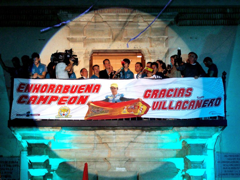 125cc World Champion Julián Simón celebrates victory at Villacañas