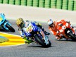 Rossi and Hayden in action in Valencia
