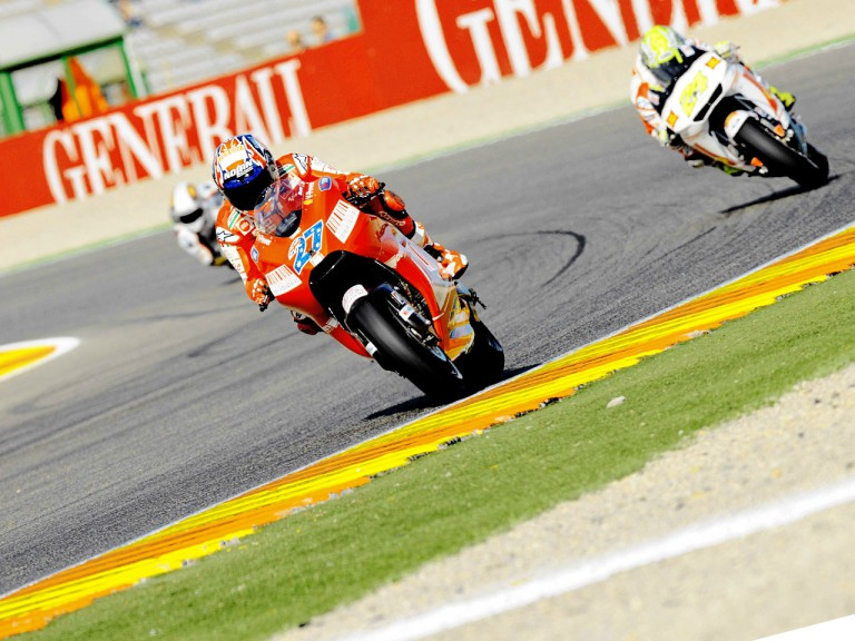 Casey Stoner on track in Valencia