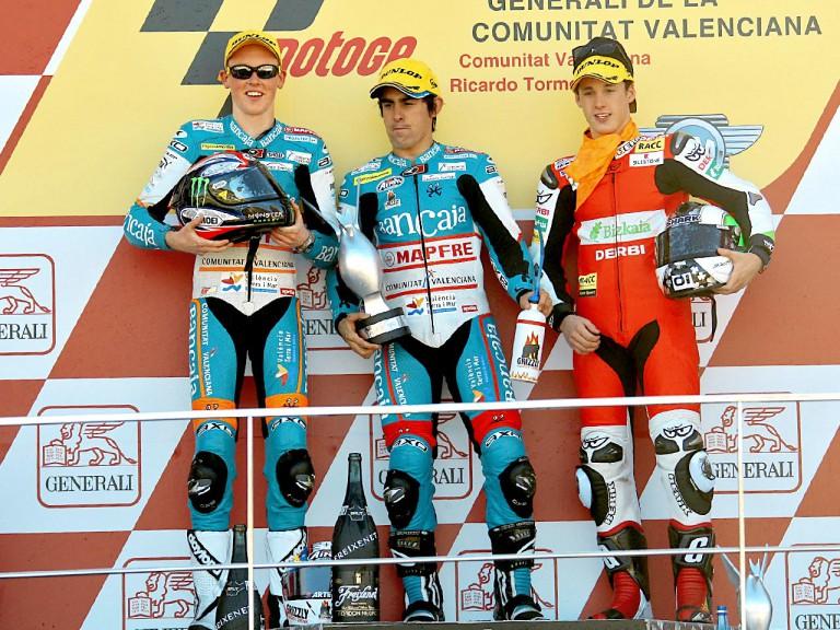 Smith, Simón and Espargaró on the podium at Valencia