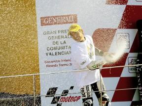 2009 250cc World Champion Hiroshi Aoyama on the podium in Valencia