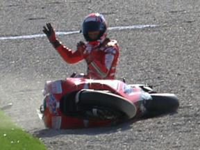 Casey Stoner crash during warm up lap in Valencia