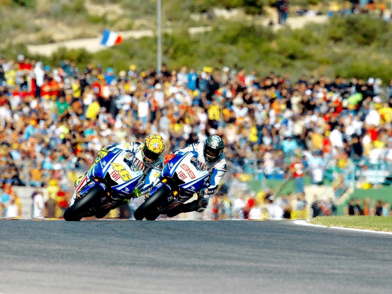 Lorenzo and Rossi in action in Valencia