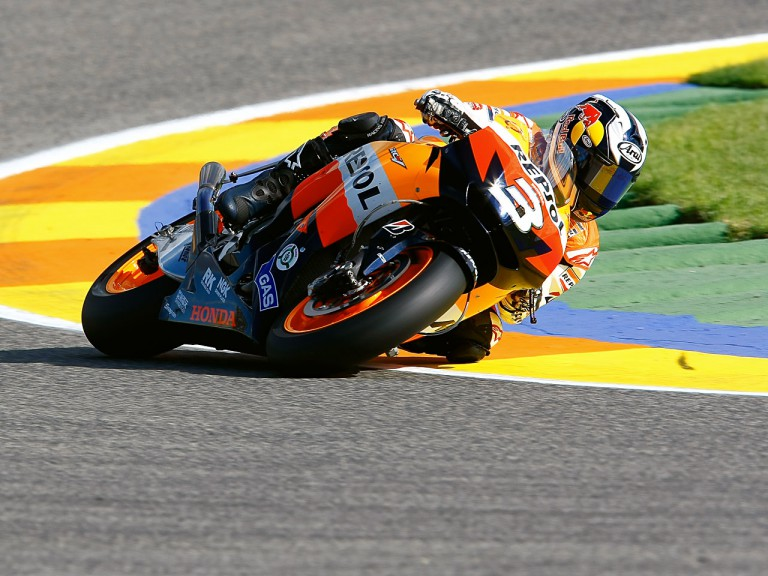 Dani Pedrosa in action in Valencia