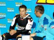 Álvaro Bautista in the Rizla Suzuki garage at the Valencia Post GP Test