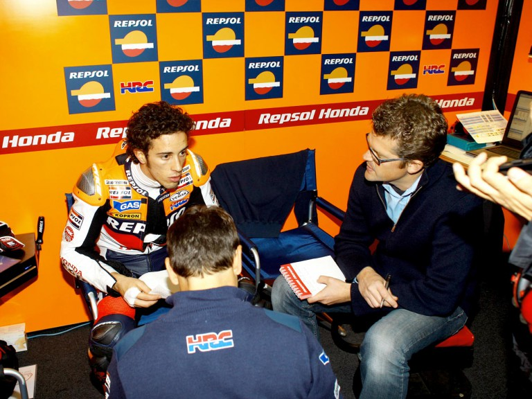 Andrea Dovizioso in the Repsol Honda garage at the Valencia Post GP Test