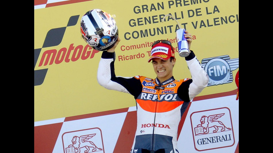 Dani Pedrosa on the podium in Valencia