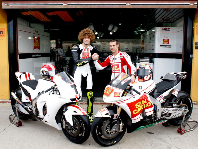 Simoncelli and Melandri, San Carlo Honda Gresini 2010 at the Valencia Post GP Test