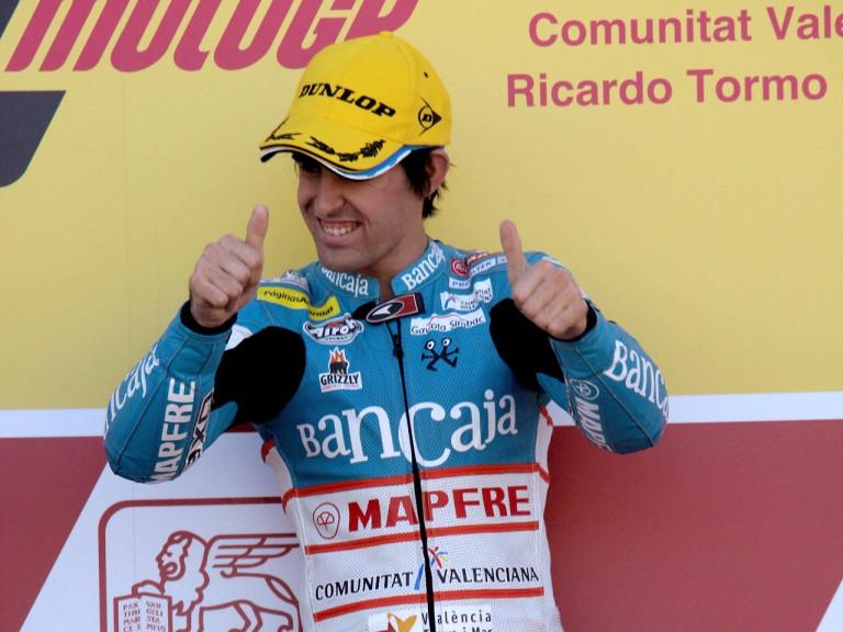 Julio Simón on the podium at Valencia