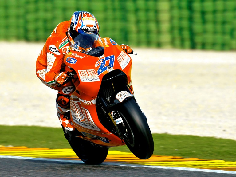 Casey Stoner in action at the Valencia Post GP Test