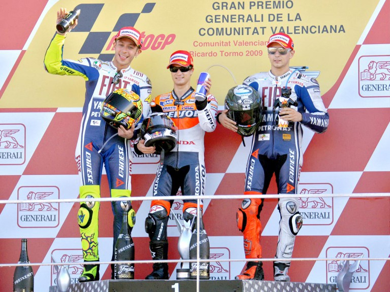 Rossi, Pedrosa and Lorenzo on the podium in Valencia