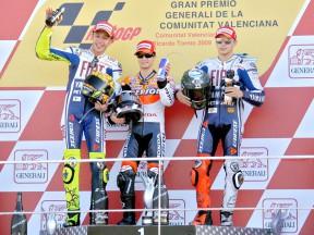 Rossi, Pedrosa and Lorenzo on the podium in Valencia