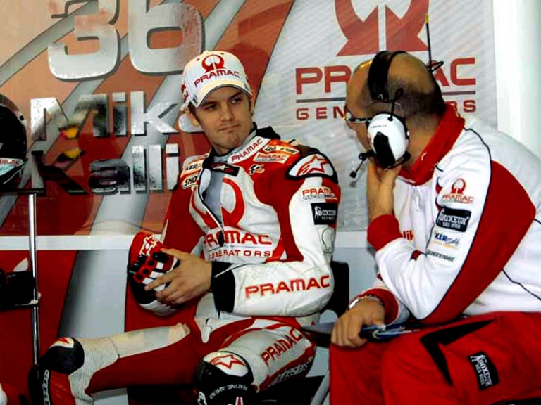 Mika Kallio in the Pramac Racing garage at the Valencia Post GP Test