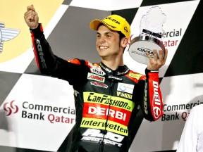 Sandro Cortese on the podium at Qatar